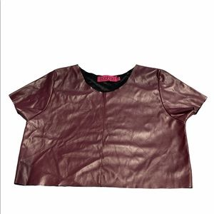 Boohoo Faux Leather Crop Top. Size 6